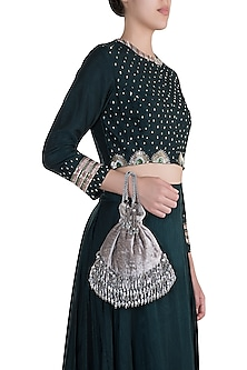 Grey Pearl Embellished Potli by Aanchal Sayal