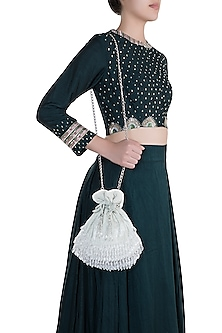 Mint Green Icy Beads & Pearl Embellished Potli by Aanchal Sayal