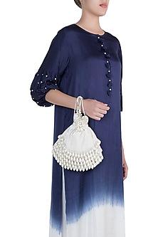 Ivory Pearl Embellished Velvet Potli by Aanchal Sayal