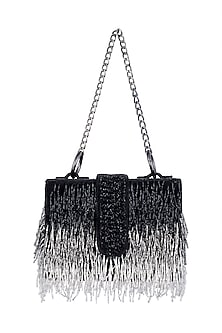 Black Embroidered Elitaire Sling Box Bag by Aanchal Sayal