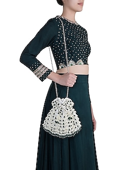 Ivory Embroidered Emerald Oyster Potli by Aanchal Sayal