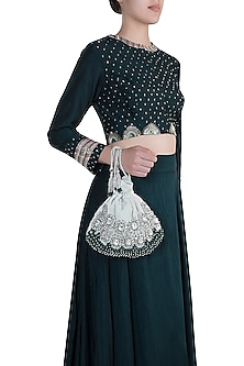 Ivory Emerald Embroidered Potli by Aanchal Sayal