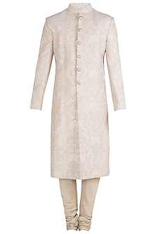 Cream Embroidered Sherwani Set