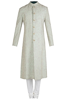 Mint Green Embroidered Sherwani Set with Stole