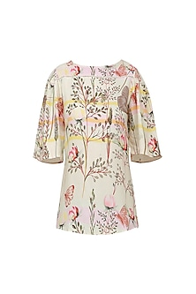 Floral Printed Gathered Sleeve Top with Boat Neckline