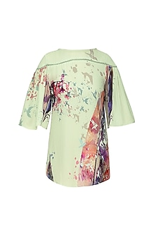 Feathered Printed Gathered Sleeve Top with Boat Neckline