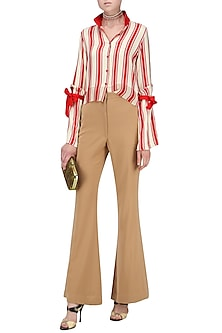 Striped Croped Shirt with Bell Sleeves with Bow Tie by Ash Haute Couture