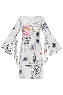 Floral Print White Dress with Mesh and Bell Sleeves