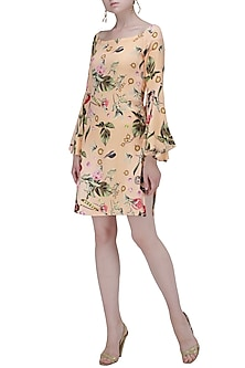 Floral Print Peach Dress with Mesh and Bell Sleeves by Ash Haute Couture