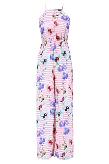 Pink and Ivory Stripe and Floral Print Beach Jumpsuit by Ash Haute Couture
