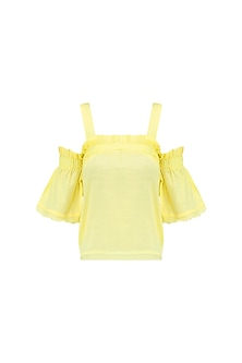 Yellow Ruched Bardot Top by Ash Haute Couture