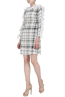 Black and White Tartan Print Knee Length Dress by Ash Haute Couture