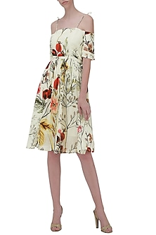 White Floral Print Skater Dress by Ash Haute Couture