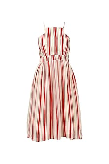 Red and White Striped Skater Dress