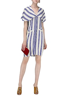 Blue and White Striped Front Open Cape Dress by Ash Haute Couture