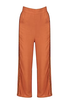 Dark Orange Striped Trousers
