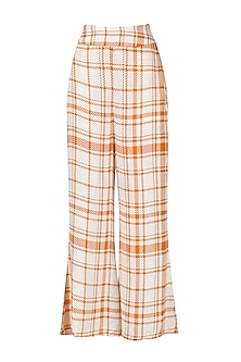 Orange and White Striped Wide Leg Trousers
