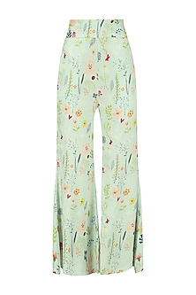 Blue Floral Print Striped Wide Leg Trousers