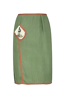 Olive Green Skirt with Thigh High Slit