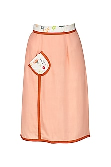 Peach Skirt with Thigh High Slit