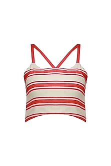 Red and White Striped Crop Top by Ash Haute Couture