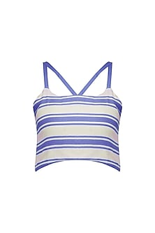 Blue and White Striped Crop Top
