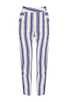 Blue and White Striped Trouser