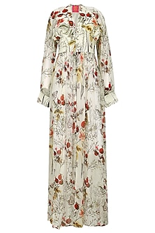 Offwhite and Multi-Coloured Floral Front Open Tunic