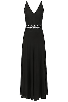 Black Cut-Out Waist Maxi Dress by Ash Haute Couture