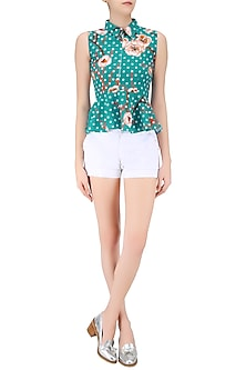 Green Floral Printed Peplum Top by Ash Haute Couture