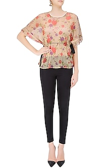 Nude Floral Printed Kimono Sleeves Top by Ash Haute Couture