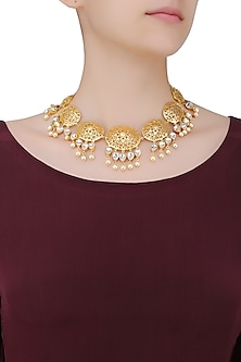 Gold Plated Arabesque Crystal Necklace