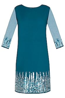 Turquoise embellished dress by Attic Salt