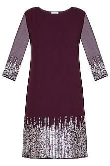Maroon sequins embellished dress