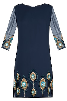 Navy blue embellished dress