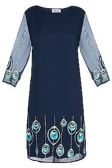 Navy blue motif embellished dress