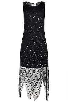 Black embellished handkerchief dress