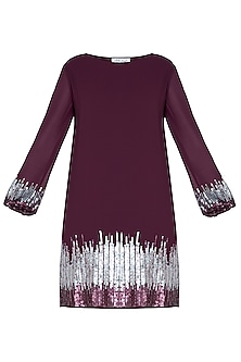 Maroon embellished dress