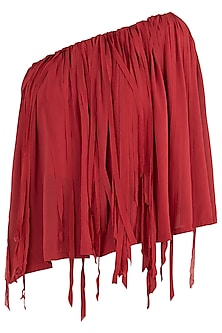 Burnt Red One Shoulder Cape Top by Asmita Marwah