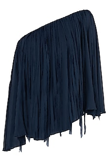 Indigo Blue One Shoulder Cape Top