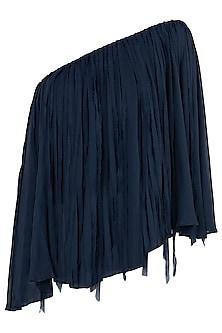 Indigo Blue One Shoulder Cape Top by Asmita Marwah