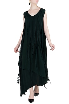 Bottle Green Asymmetrical Layered Dress by Asmita Marwah