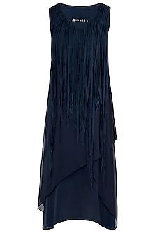 Indigo Blue Asymmetrical Layered Dress by Asmita Marwah