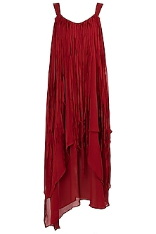 Burnt Red Asymmetrical Layered Dress