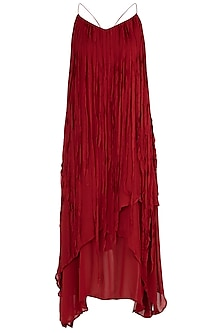 Burnt Red Asymmetrical Dress by Asmita Marwah