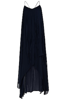Indigo Blue Asymmetrical Fringe Embellished Dress by Asmita Marwah