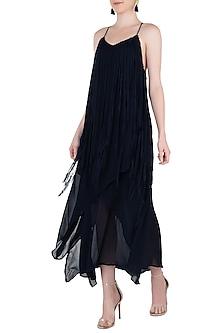 Indigo Blue Asymmetrical Fringe Embellished Dress by Asmita Marwah