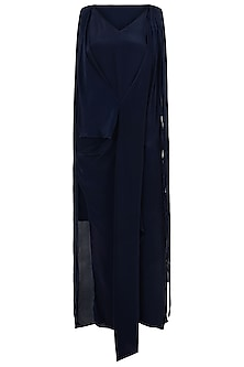 Indigo Blue Asymmetrical Drape Dress