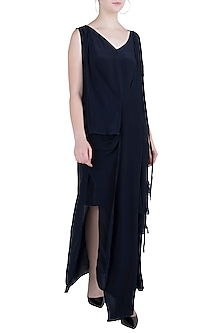 Indigo Blue Asymmetrical Drape Dress by Asmita Marwah