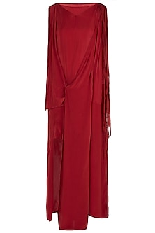 Burnt Red Asymmetrical Drape Dress by Asmita Marwah